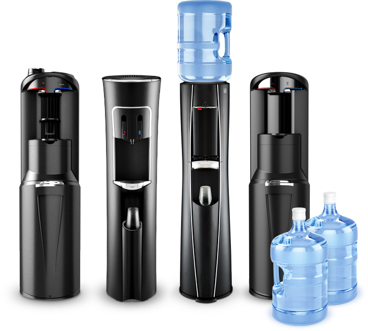 Bottled water dispensers and coolers for homes and businesses